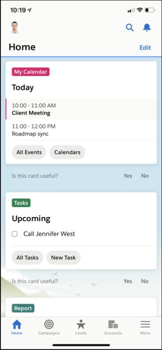 Página Home en app móvil. Salesforce Spring '21 Release