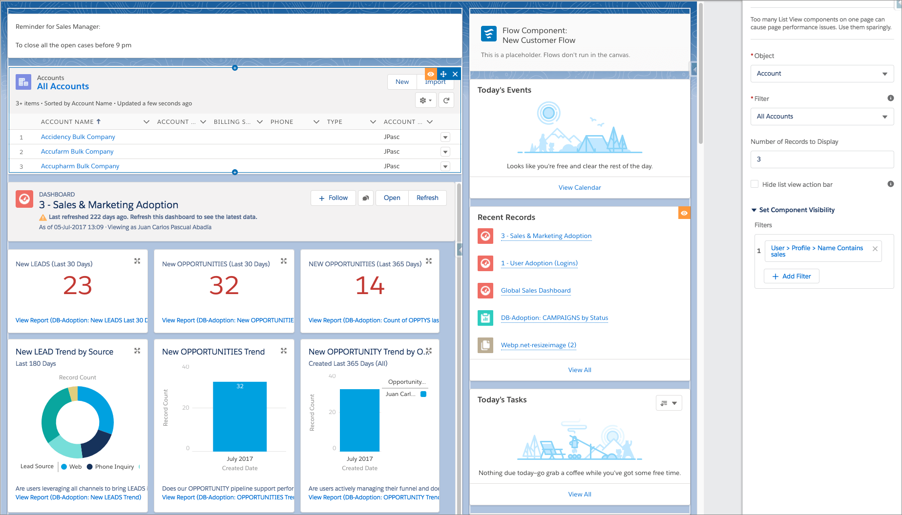Dynamic page experience. Salesforce Spring ´18