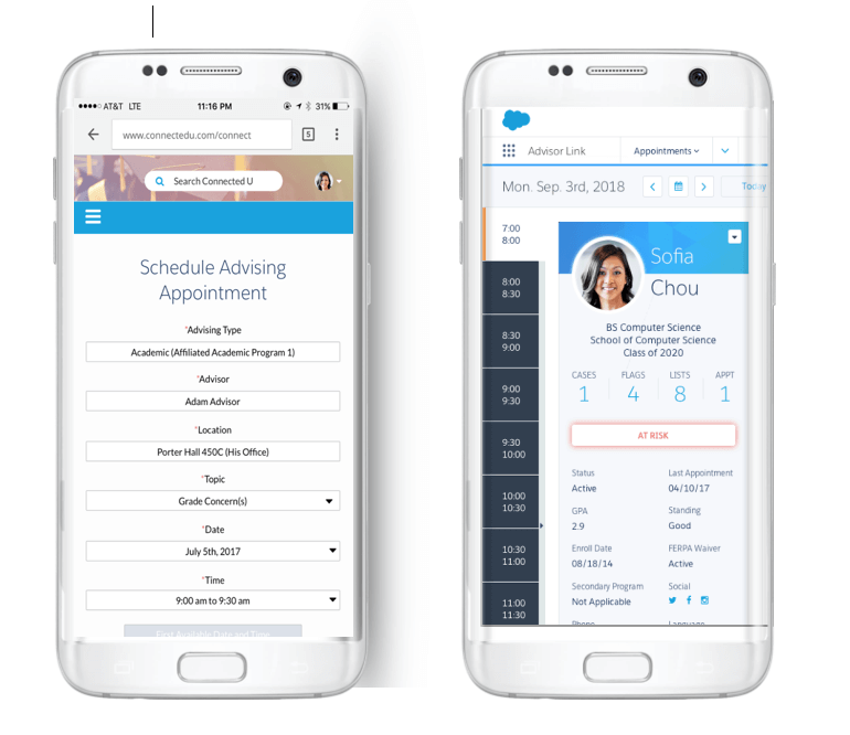 Salesforce Advisor Link citas con el movil