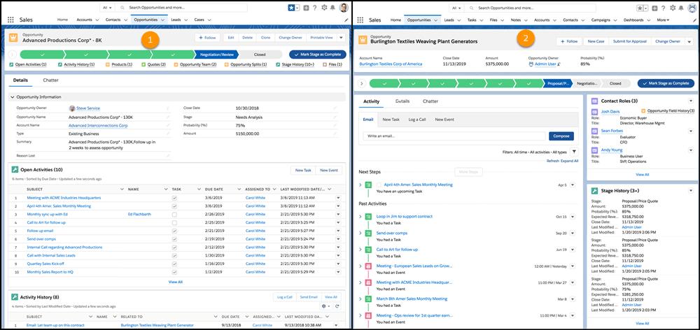 Visualización de actividades Salesforce 2019