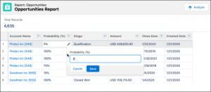 actualización de campos en informes Salesforce