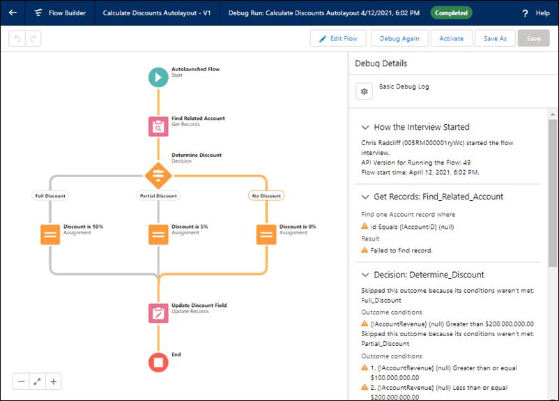 Depuración de un flow en Salesforce