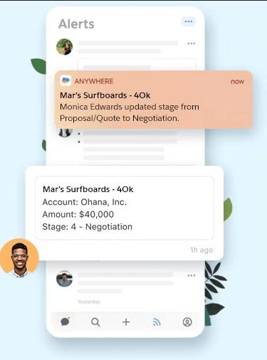 Salesforce anywhere alertas en tiempo real